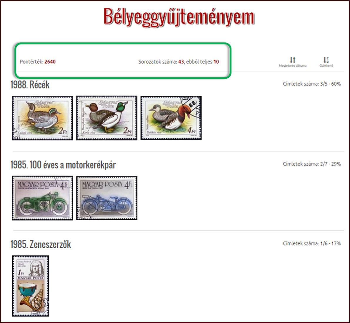A bélyegekkel pontokat gyűjtessz